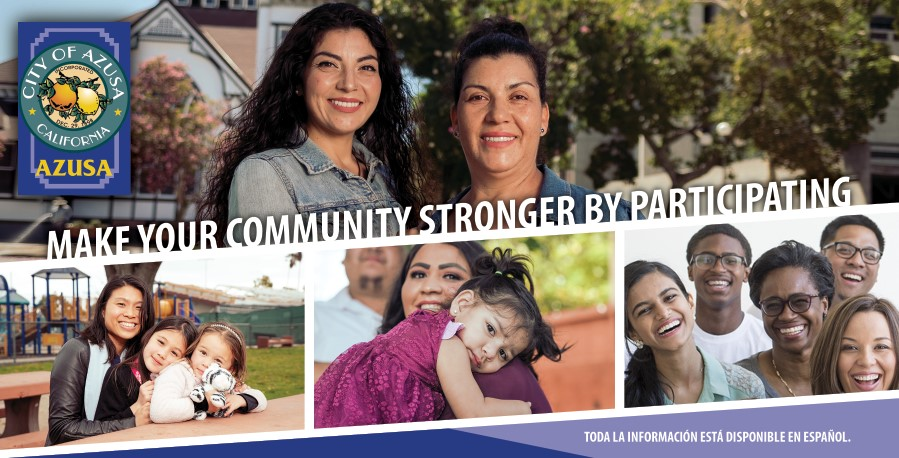 azusa census 2020 postcard front side with family and people with various ethnicity