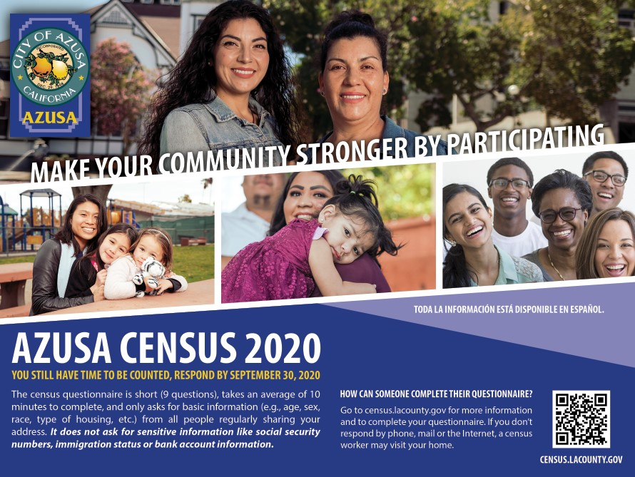 azusa census 2020 postcard front side with family and people with various ethnicity with text