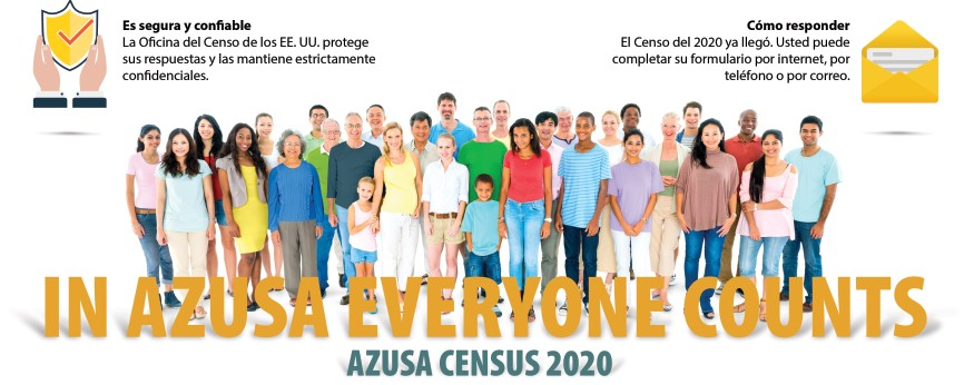 azusa census 2020 postcard front side with crowd with various ethnicity